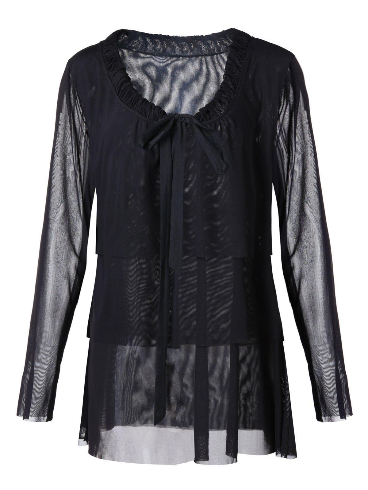 Outfits Plus Size Bow Tie Layered See Through Blouse