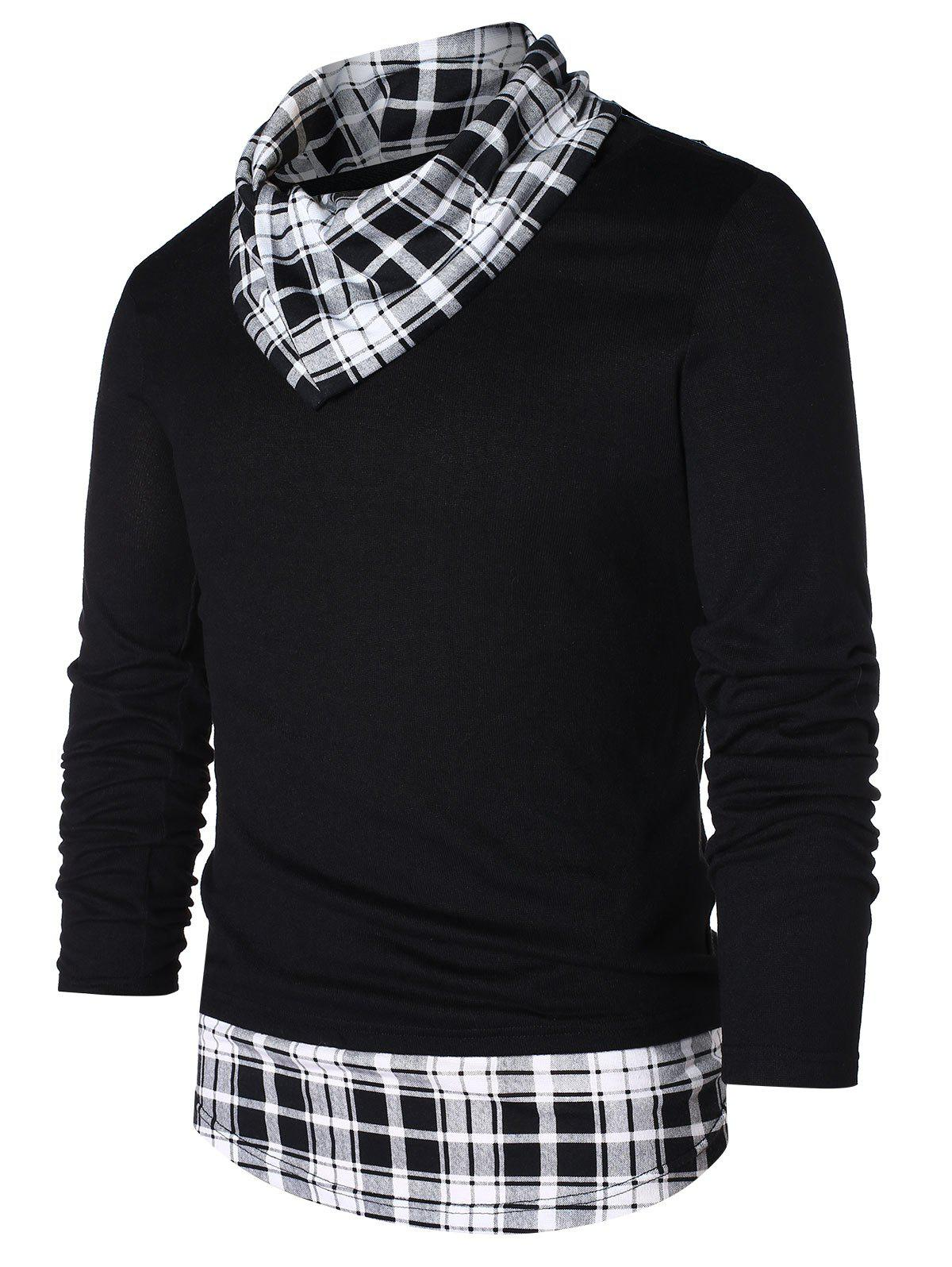 Chic Pile Heap Collar Checked Panel T-shirt
