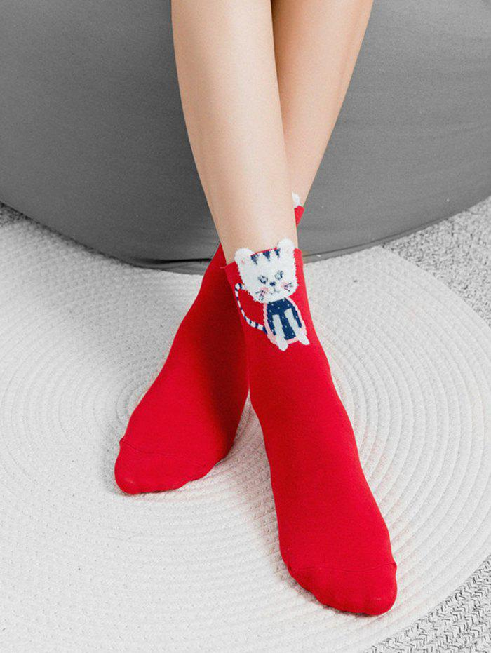 Best Novelty Angry Cat Print Cotton Socks