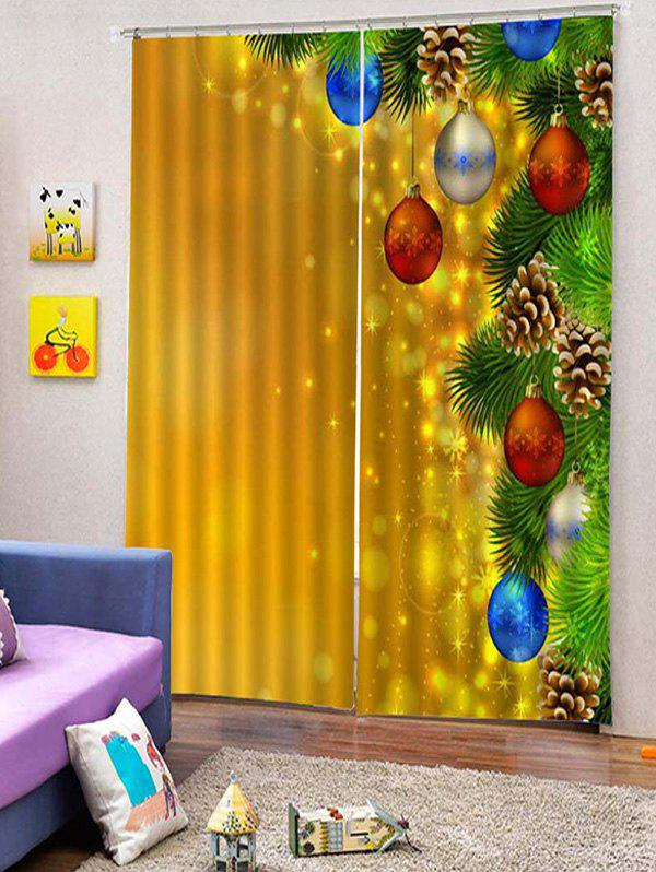 Store 2PCS Christmas Snowflake Ball Window Curtains