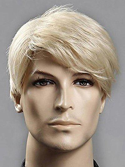 Unique Short Side Bang Straight Synthetic Men Wig
