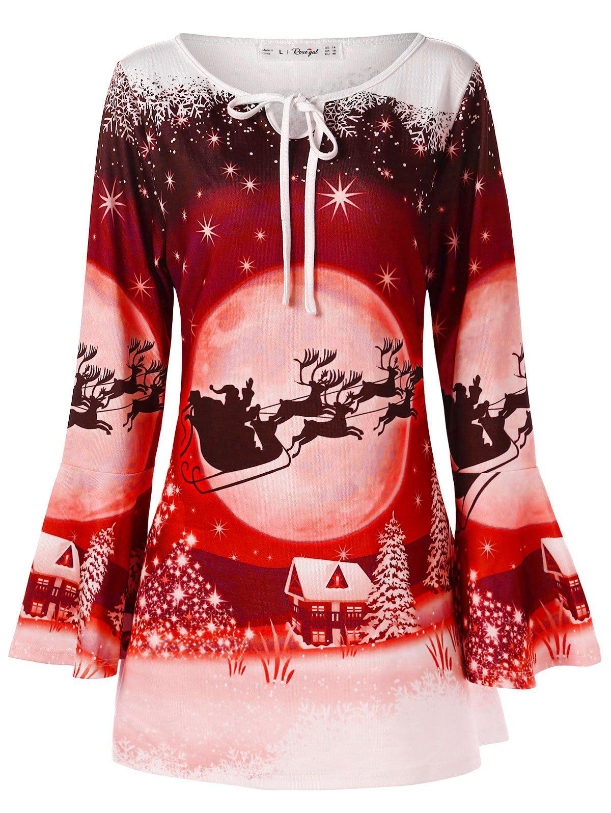 Affordable Plus Size Christmas Print T-shirt