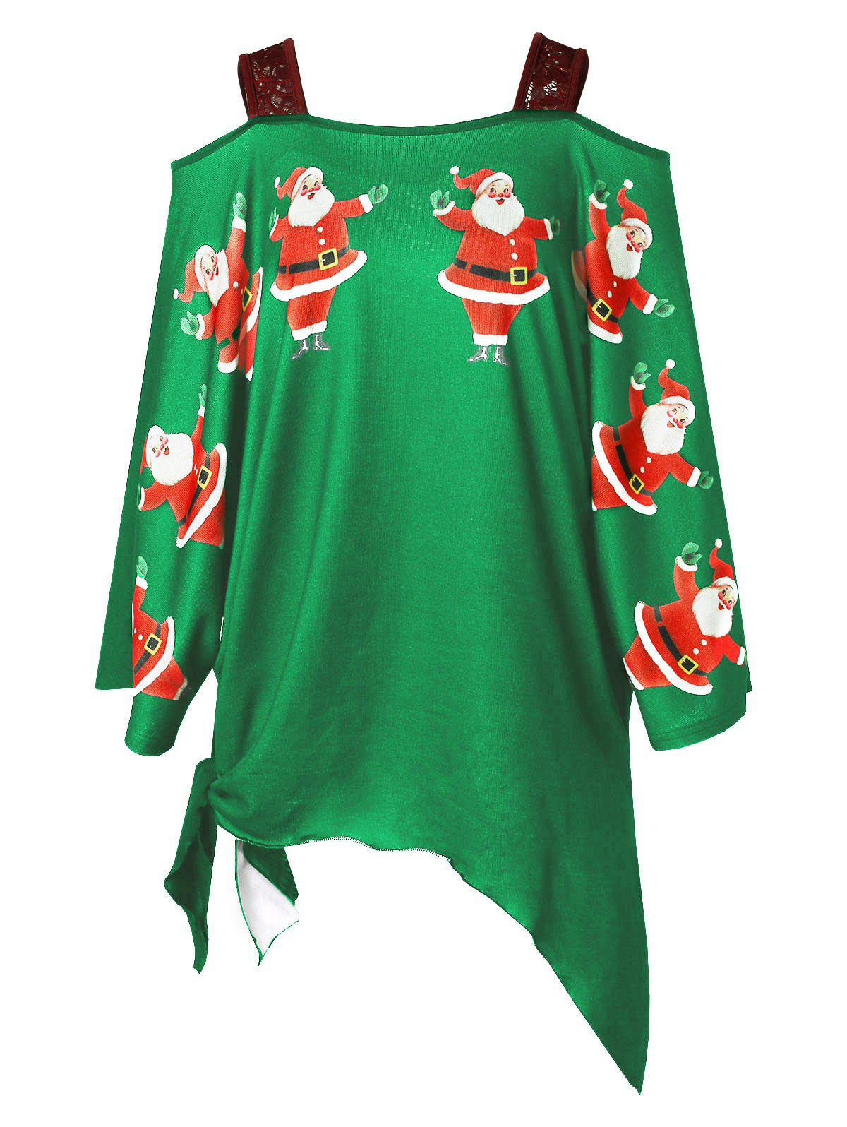 Affordable Plus Size Open Shoulder Santa Claus Christmas T-shirt