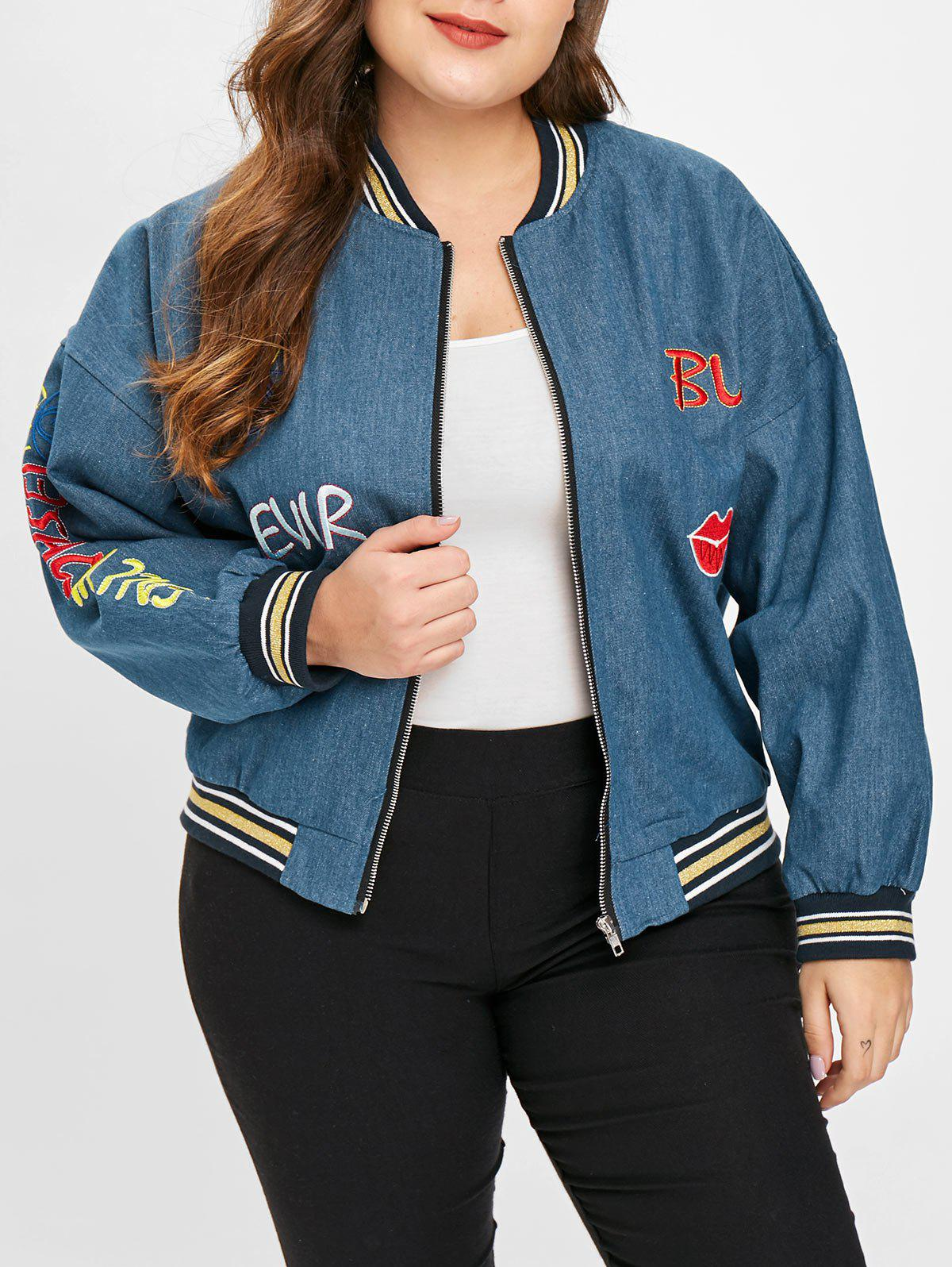 Best Plus Size Zipper Fly Denim Jacket with Embroidered