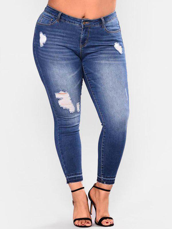 Shop Plus Size High Rise Destroyed Skinny Jeans