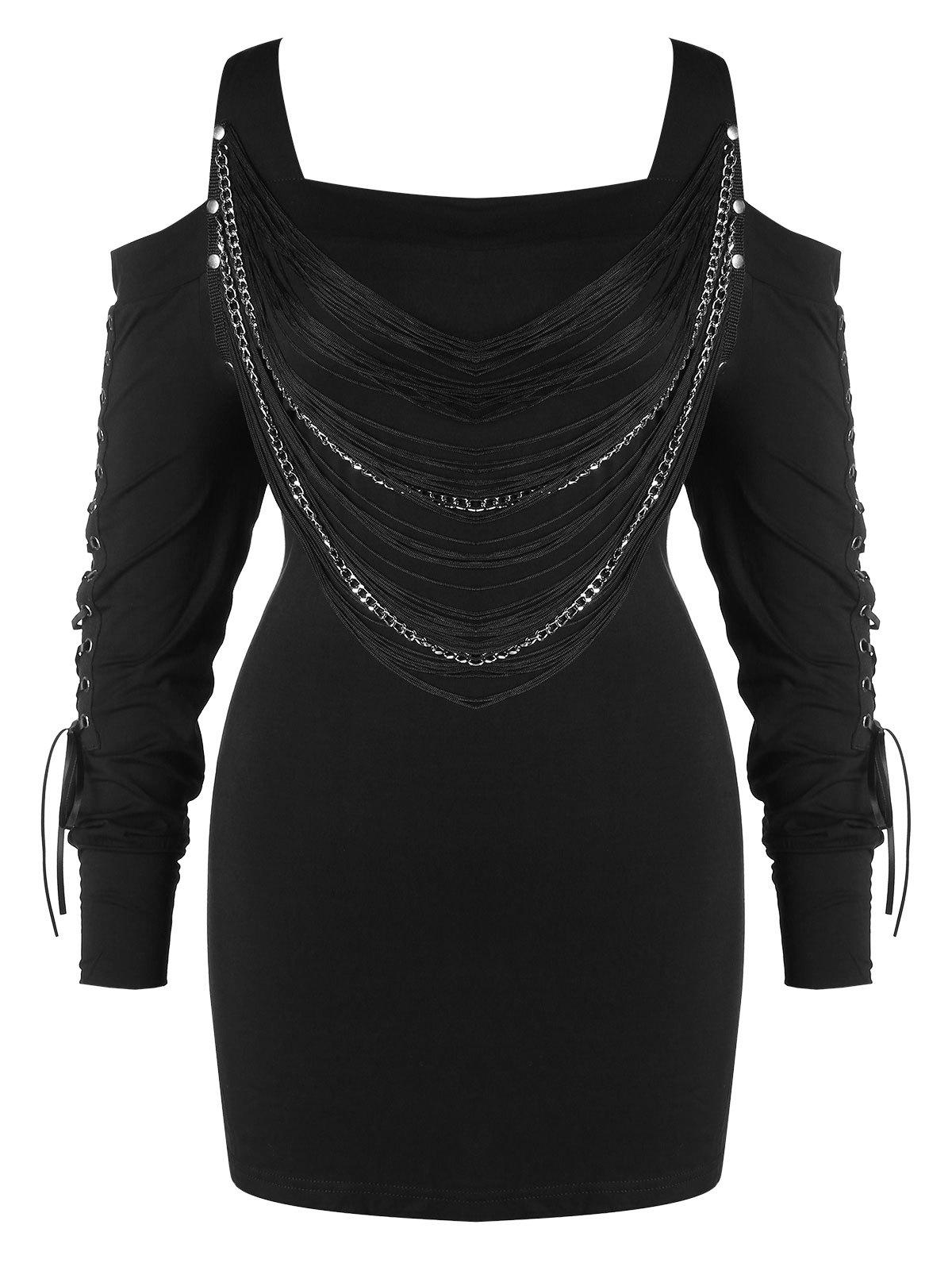 Hot Plus Size Fringed Lace Up Open Shoulder T-shirt