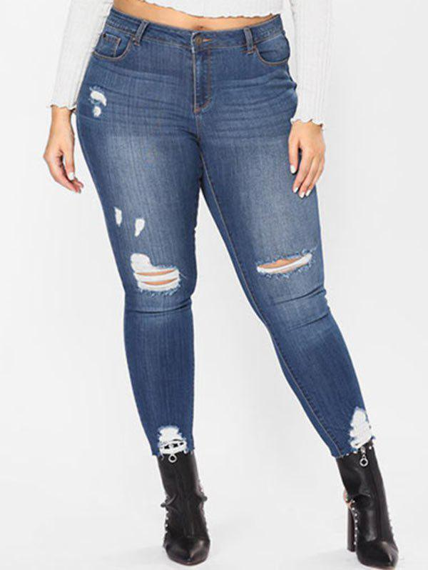 Trendy Plus Size High Waisted Destroyed Jeans