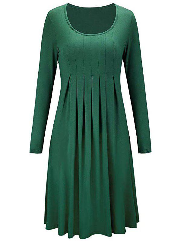 Outfit Scoop Neck Long Sleeve Pleated Dress