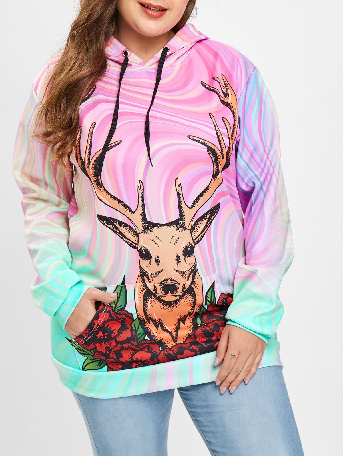 Shops Christmas Deer Print Plus Size Drawstring Hoodie