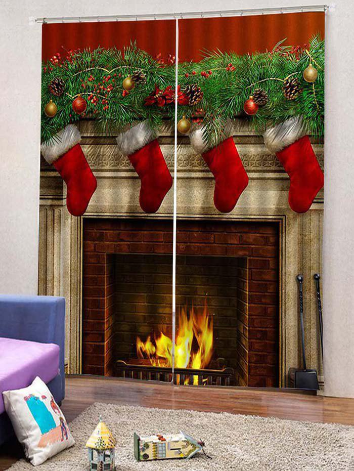 Outfits 2PCS Christmas Gift Stocking Window Curtains