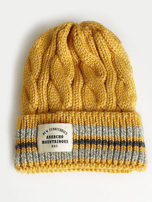Trendy Letter Label Flanging Thick Beanie
