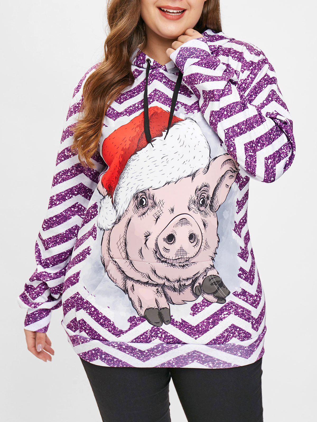 Outfits Christmas Pig Print Plus Size Hoodie