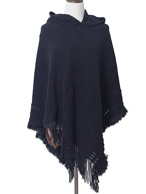 Latest Irregular Fringe Hooded Pullover Shawl Sweater