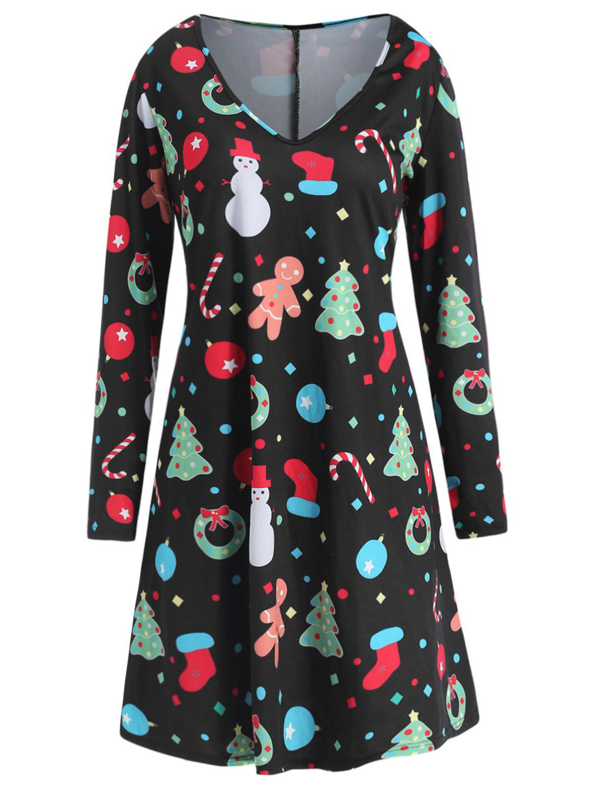 Chic Plus Size Christmas Long Sleeves Printed Dress