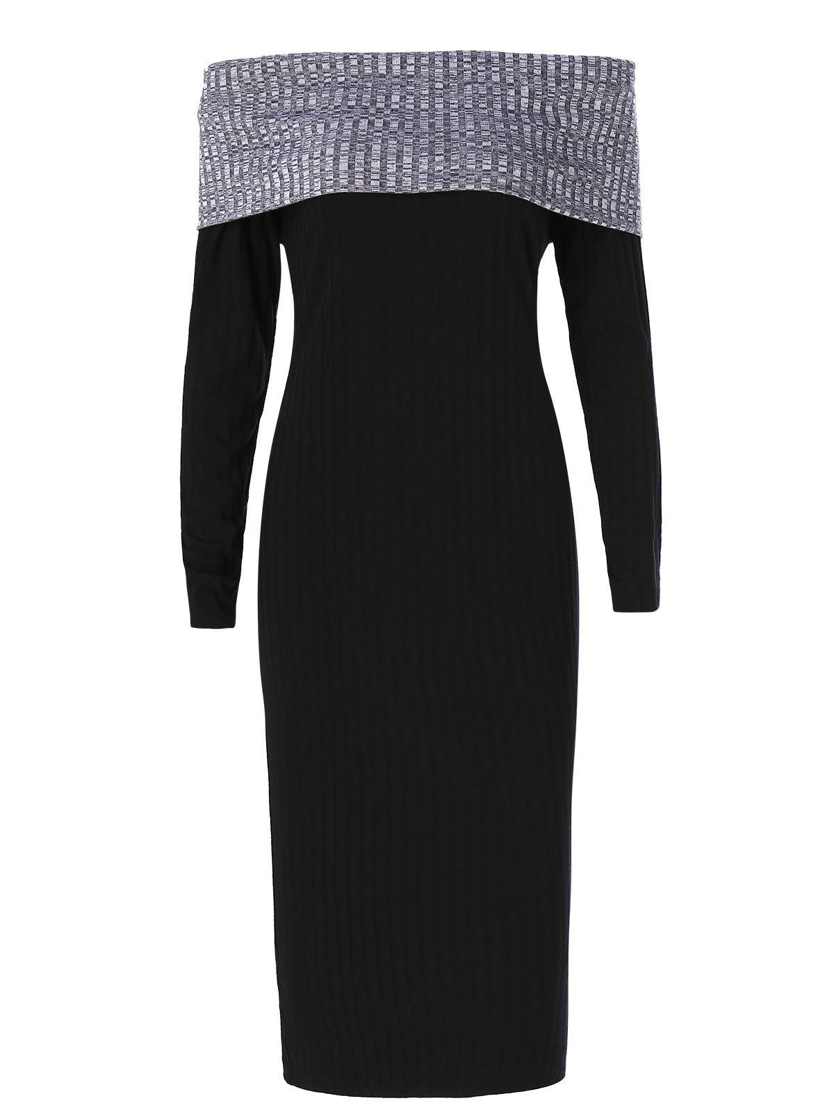 Hot Contrast Knitted Off Shoulder Bodycon Dress