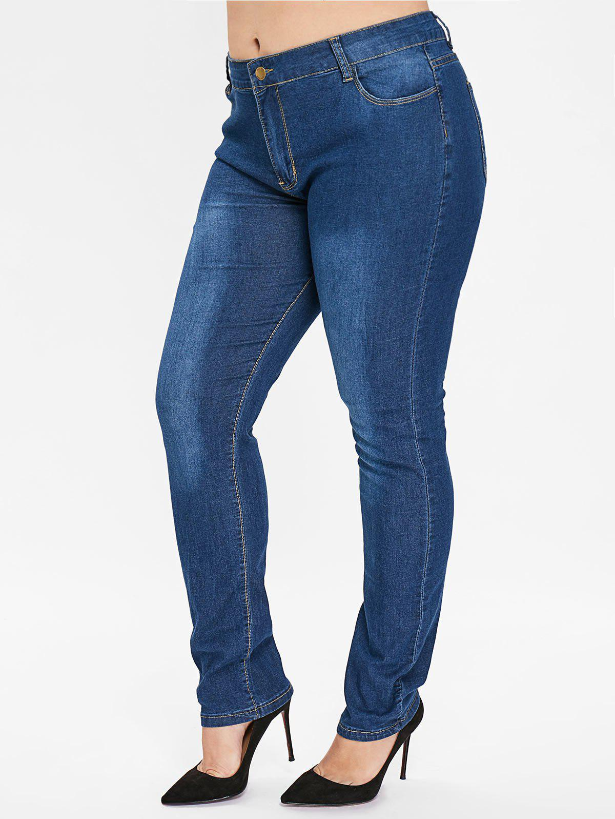 Outfit Plus Size Zipper Fly Plain Jeans