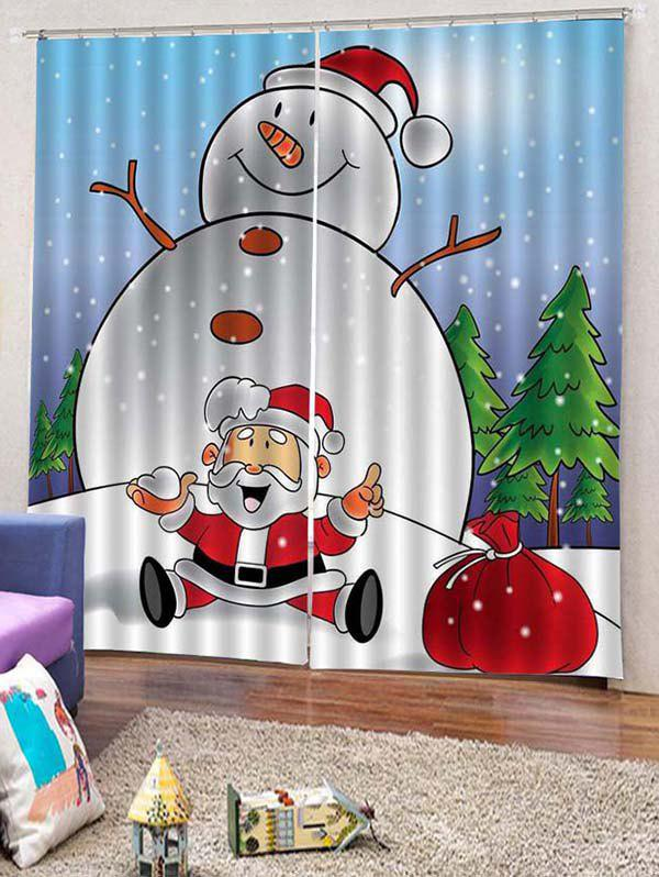 Outfits 2PCS Funny Snowman Father Christmas Window Curtains