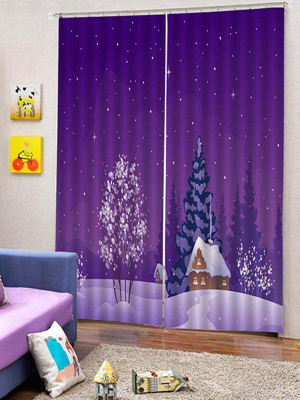 Hot 2PCS Christmas Snow Forest Window Curtains