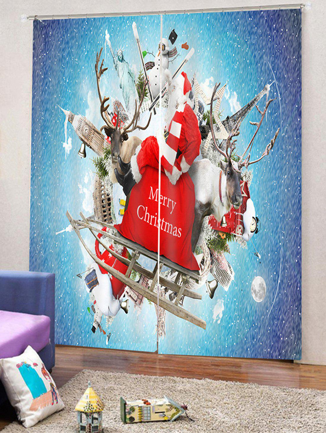Latest 2PCS Father Christmas Printed Window Curtains