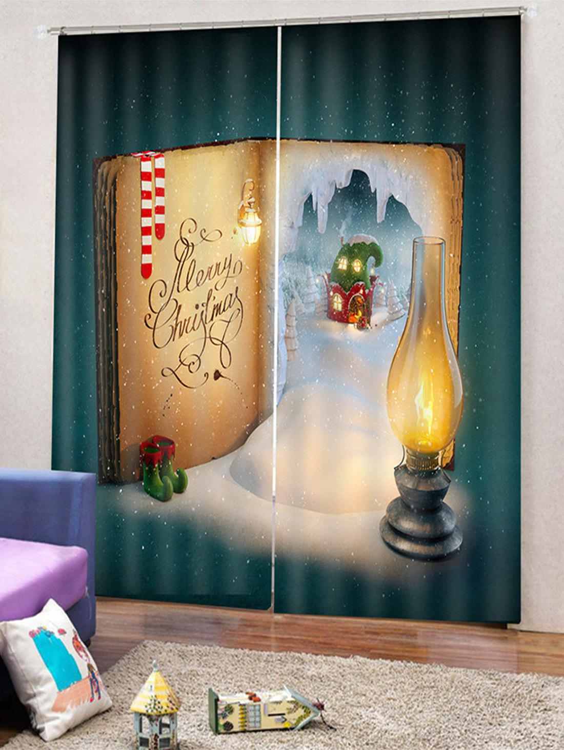 Trendy 2PCS Christmas Book Printed Window Curtains