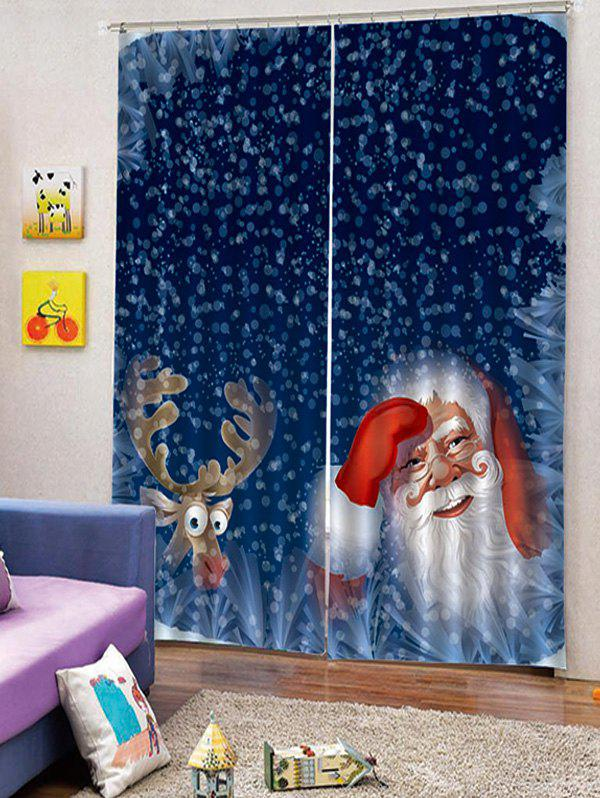 Best 2PCS Deer Father Christmas Window Curtains