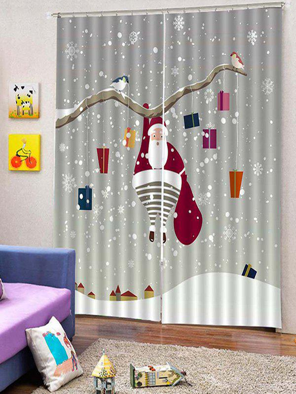 2pcs Father Christmas Gift Snowflake Window Curtains W33 5 X L79 Inch