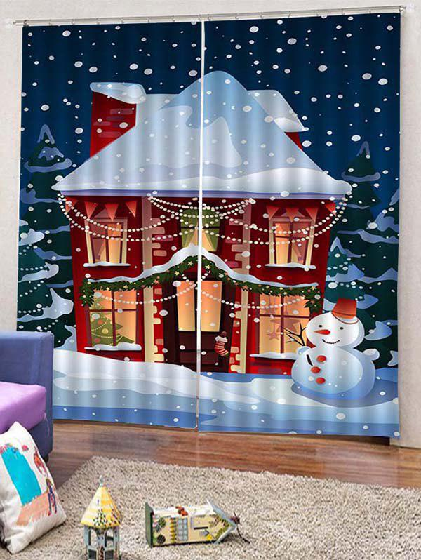 Chic 2PCS Christmas Home Snowman Window Curtains