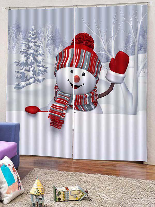 Outfit 2PCS Christmas Snowman Theme Window Curtains