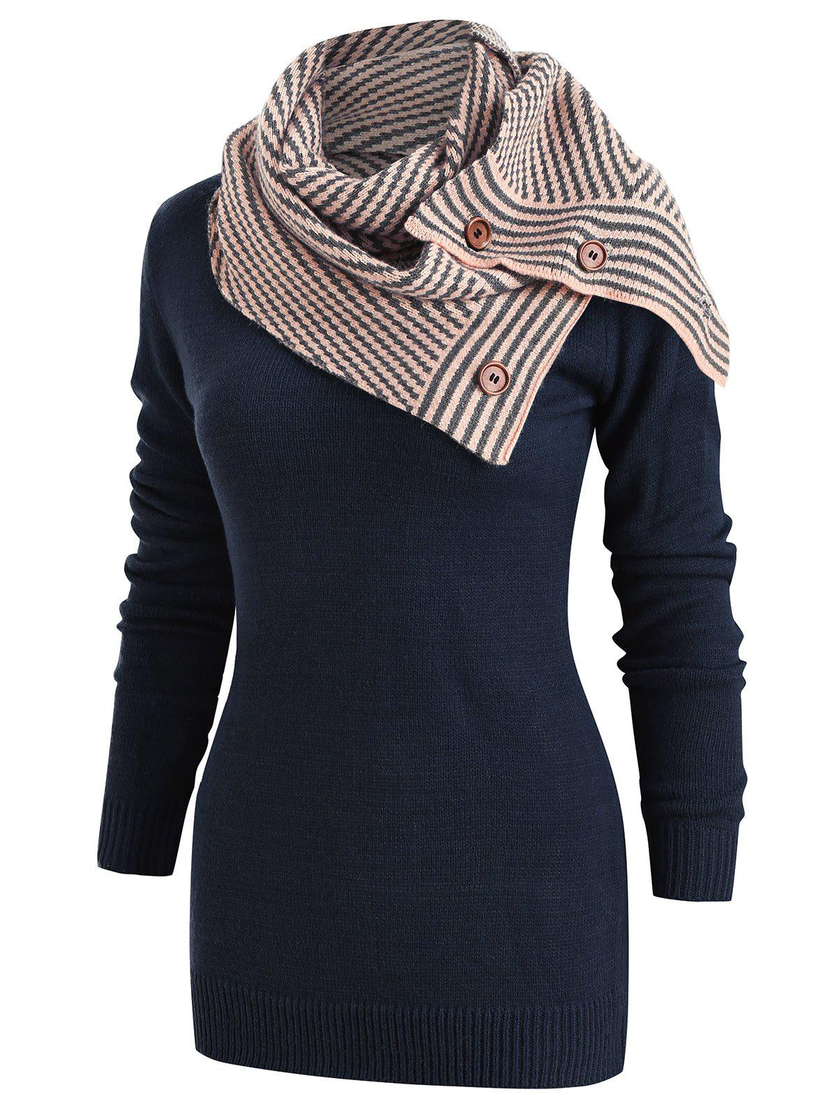 New Long Sleeve Sweater with Striped Scarf
