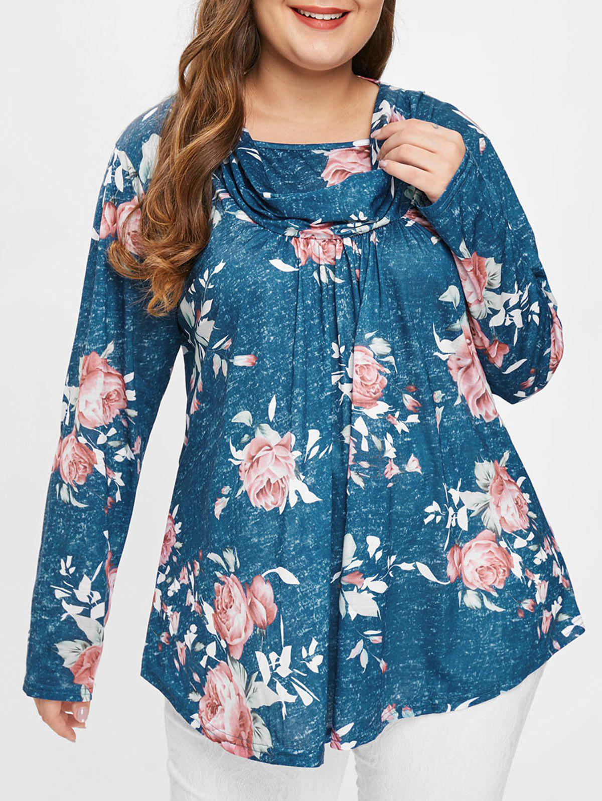 New Plus Size Floral Tee with Heaps Collar