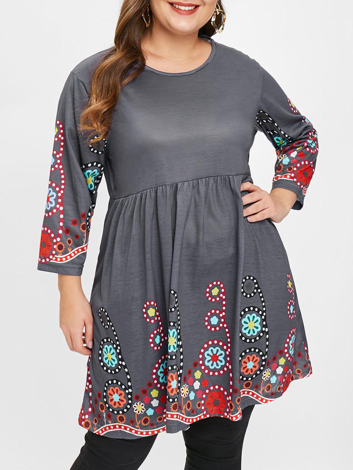 Latest Plus Size Floral Printed Swing Top