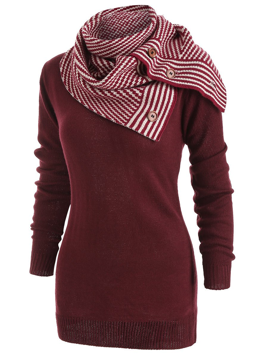 Discount Long Sleeve Sweater with Striped Scarf
