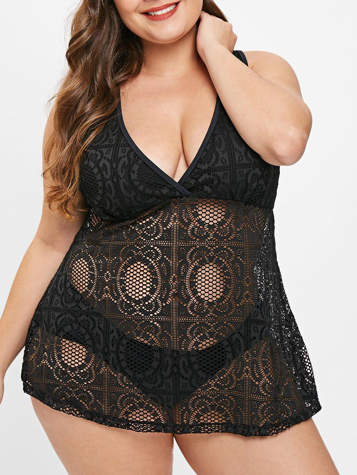 Plus Size Padded Openwork Tankini Set фото