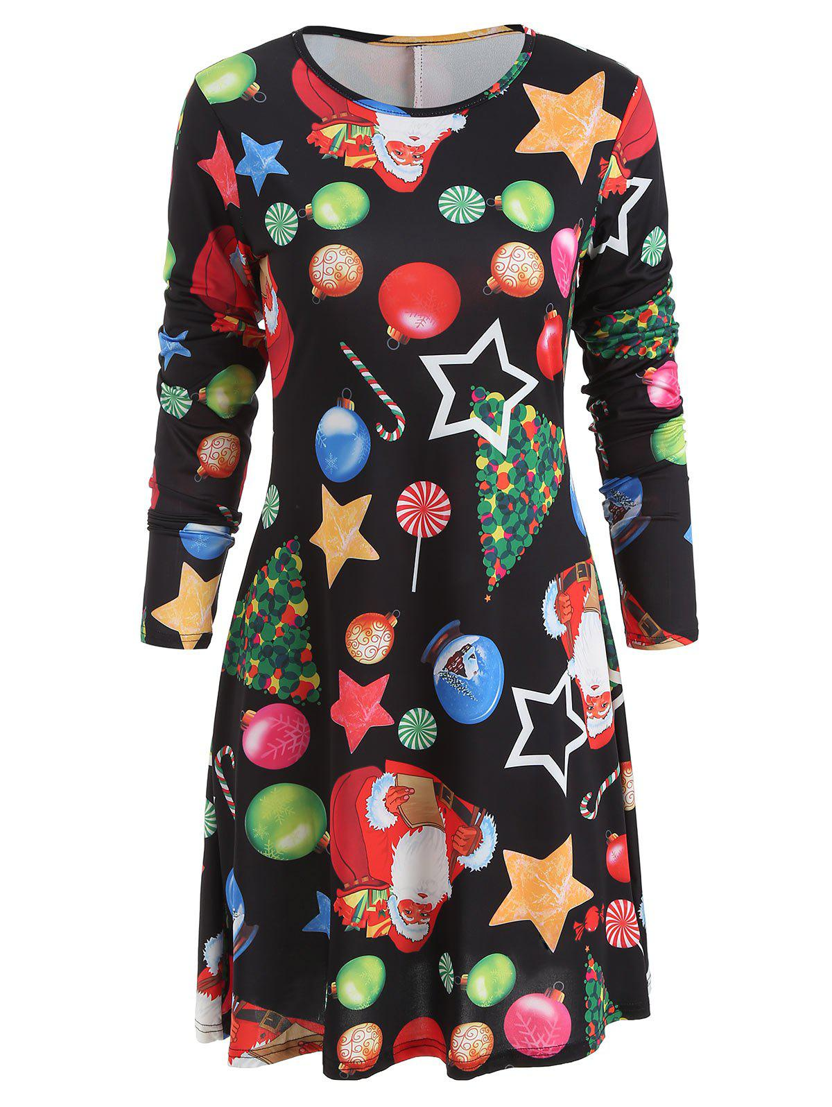 e3b5a0f90066 44% OFF   2018 Christmas Star Print Trapeze Dress In Black 2xl ...