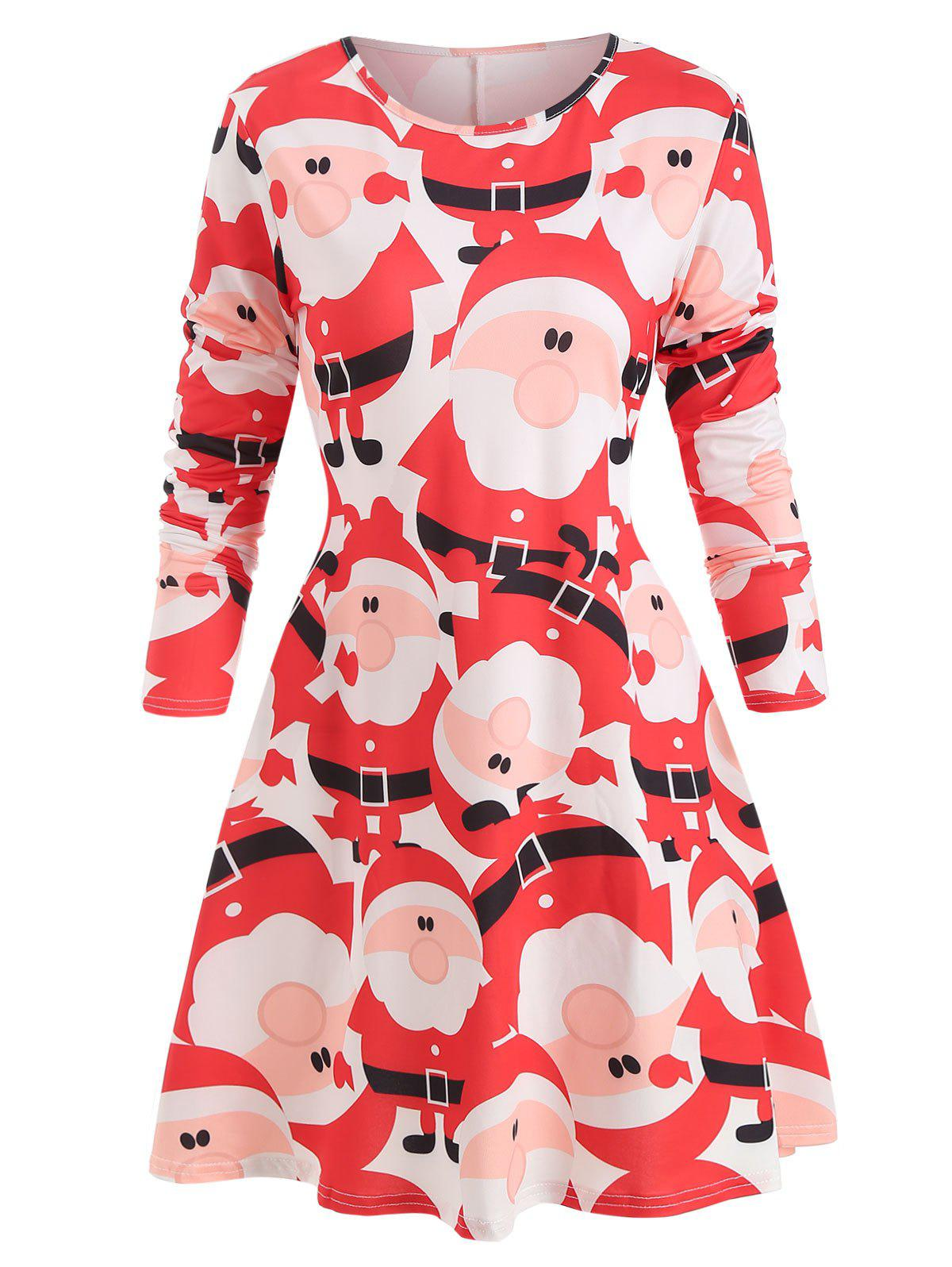 Online Christmas Santa Print Round Neck Dress