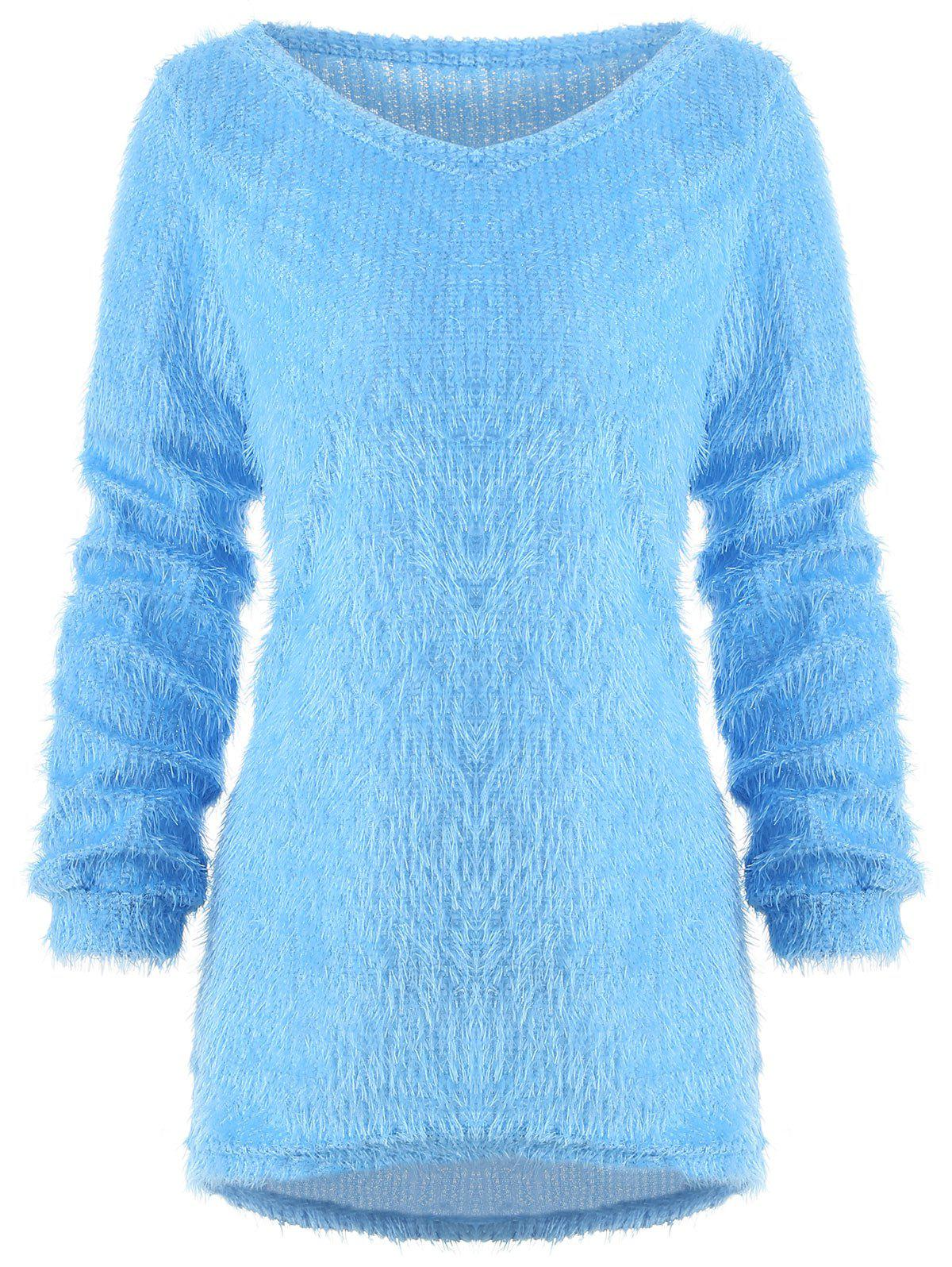 Image of Faux Fluffy Round Neck Blouse