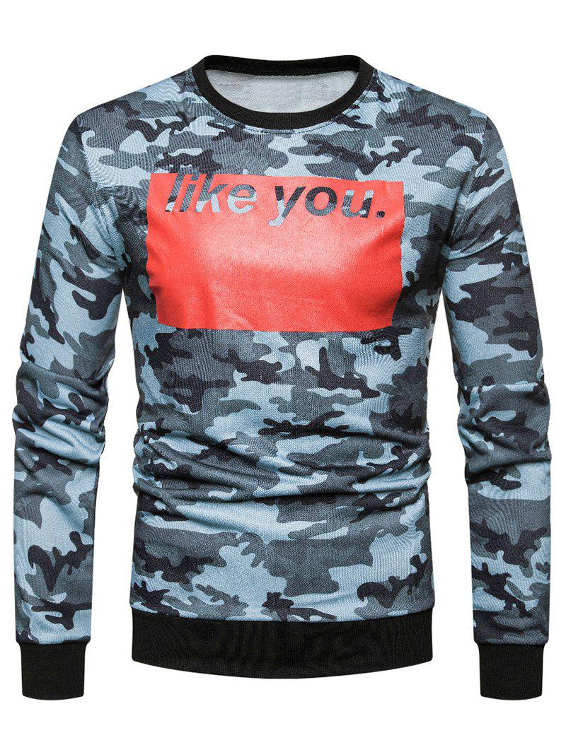 Trendy Color Block Letter Printed Camouflage Sweatshirt