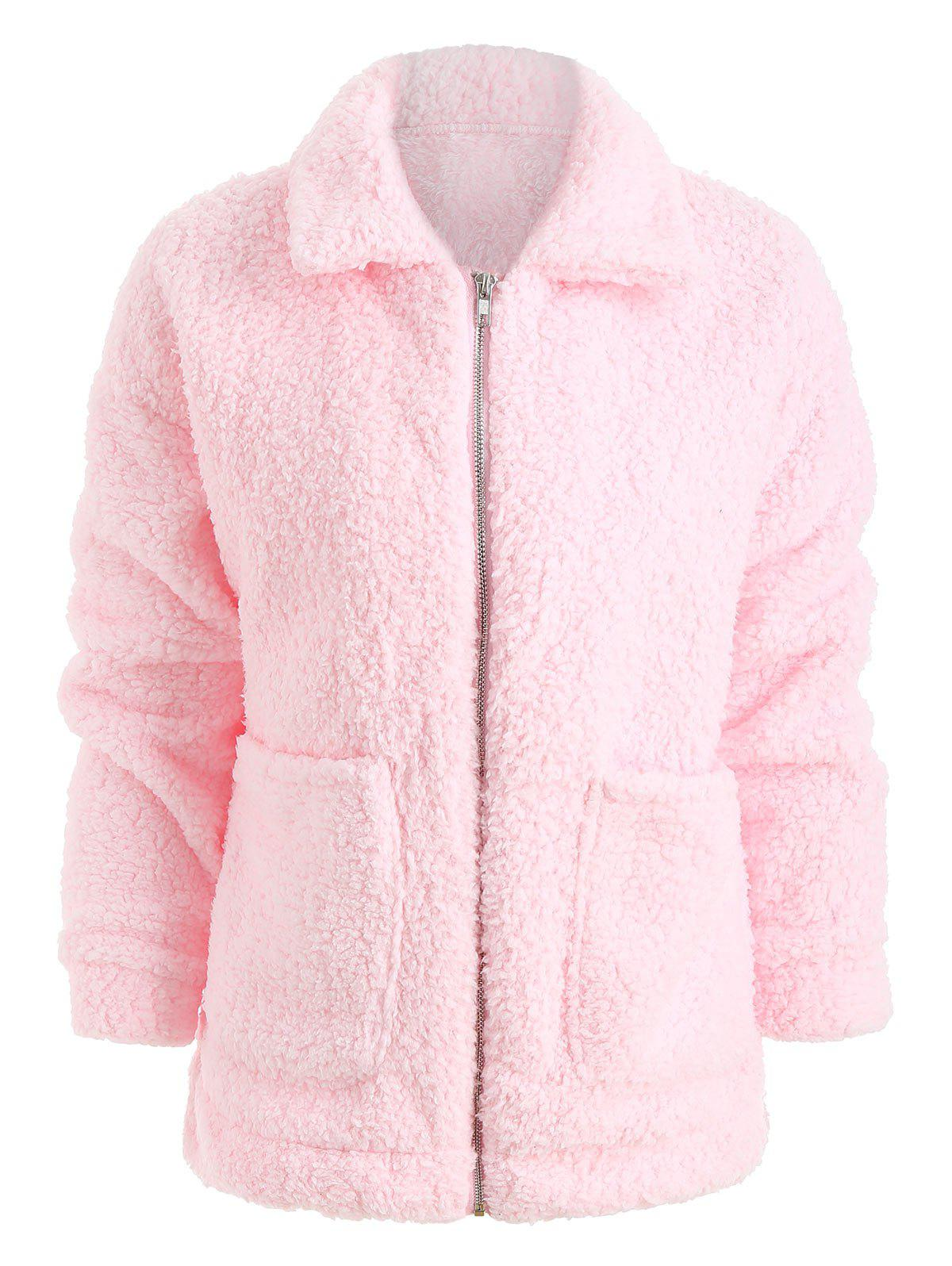 Discount Front Pocket Faux Fur Coat