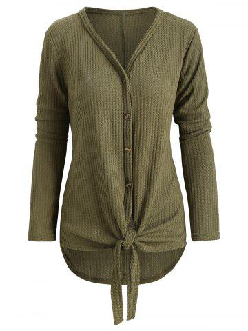 Knot Front Button Up Cardigan