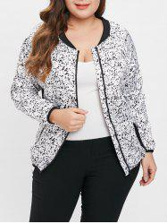 Plus Size Abstract Print Zip Up Jacket -