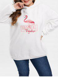 Plus Size Pullover Embroidered Fleece Hoodie -