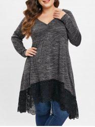 Plus Size Heather Lace Insert T-shirt -