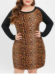 Plus Size Raglan Sleeves Leopard Bodycon Dress -