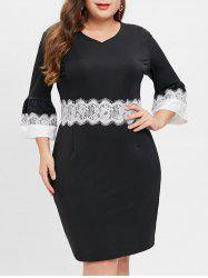 Plus Size Long Sleeves Contrast Sheath Dress with Lace -