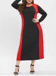 Plus Size Long Sleeves Contrast Bodycon Dress -