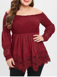 Plus Size Lace Spliced Off Shoulder Smocked Blouse -