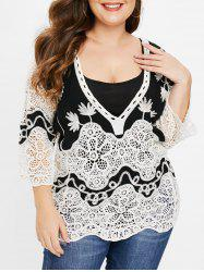 Plus Size Plunging Neck Crocheted Contrast Tee -