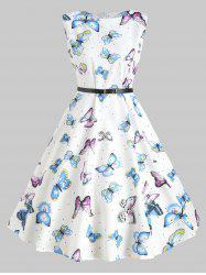 Butterfly Print Vintage Swing Dress -