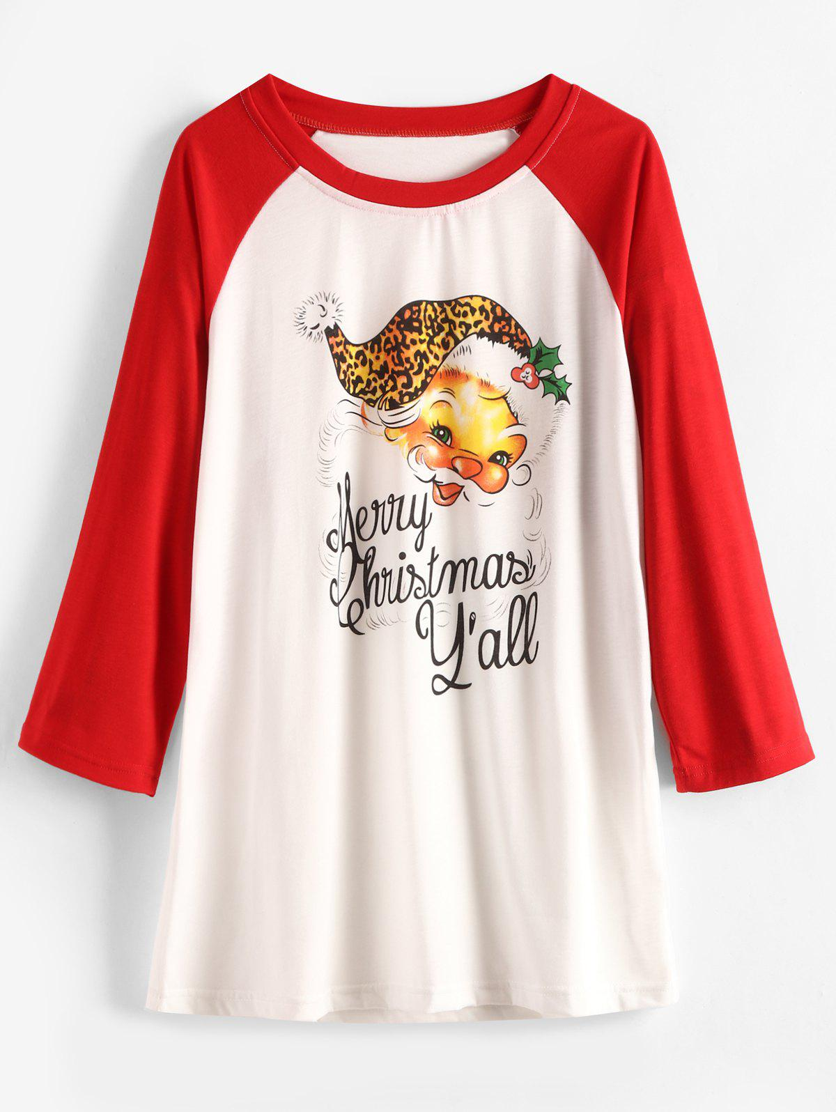 New Christmas Santa Claus and Letter Print Plus Size T-shirt
