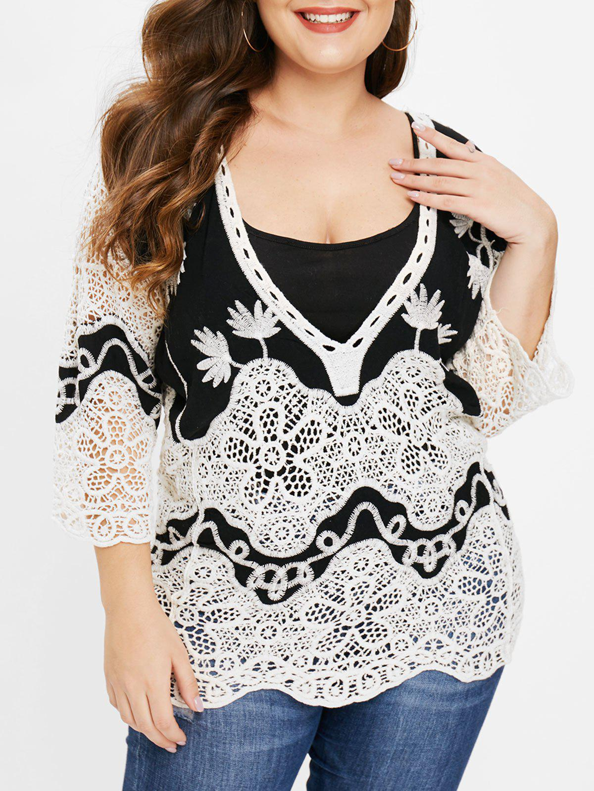 Best Plus Size Plunging Neck Crocheted Contrast Tee